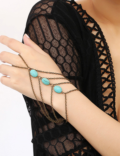 Fashion Antique Gold+blue Stone Decorated Bracelet