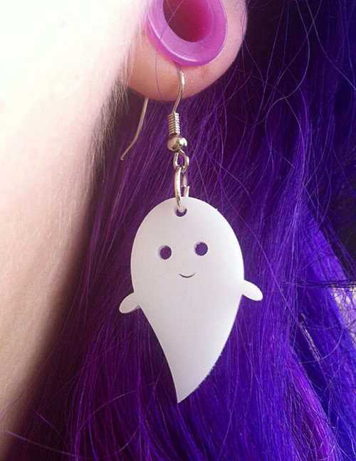 Fashion White Ghost Shape Decorated Earrings
