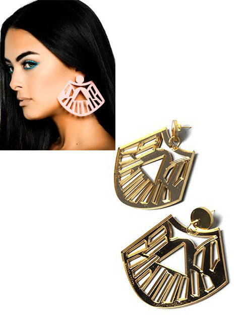 Fashion Gold Color Fan Shape Decorated Hollow Out Earrings