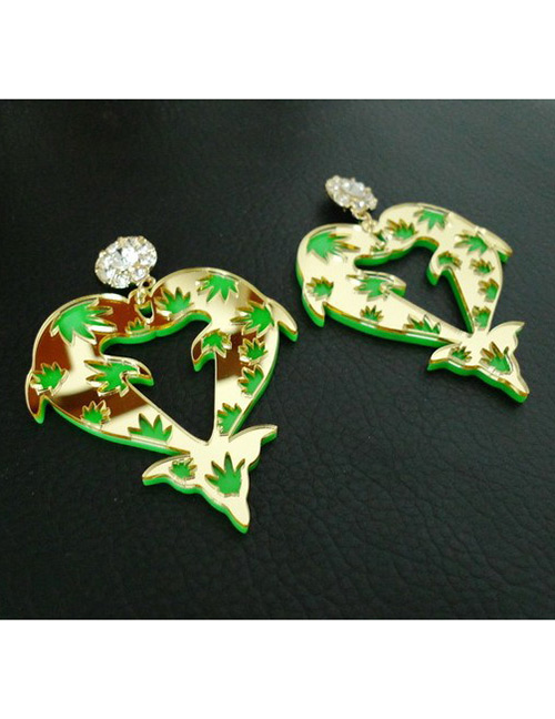 Fashion Green Dolphin Shape Decorated Earrings