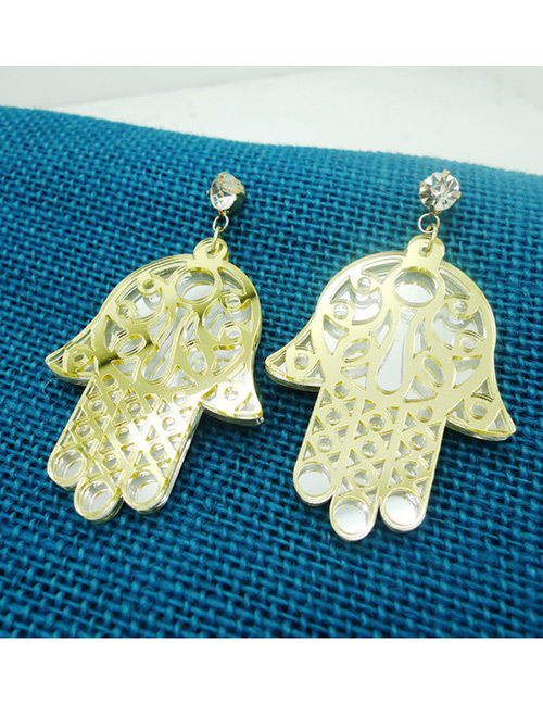 Fashion Multi-color Hand Shape Decorated Earrings