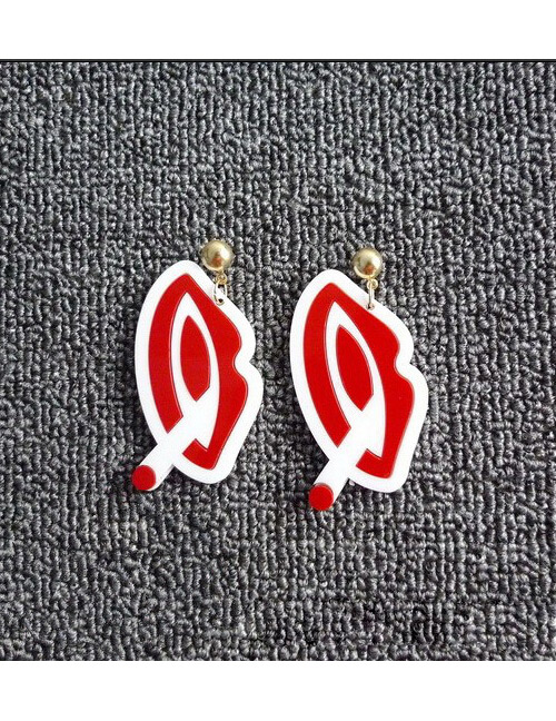 Fashion Red Lip Shape Decorated Earrings