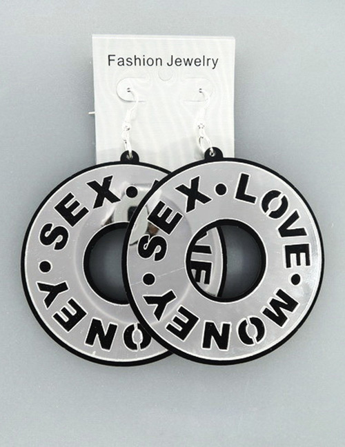 Fashion Silver Color Letter Shape Decorated Earrings