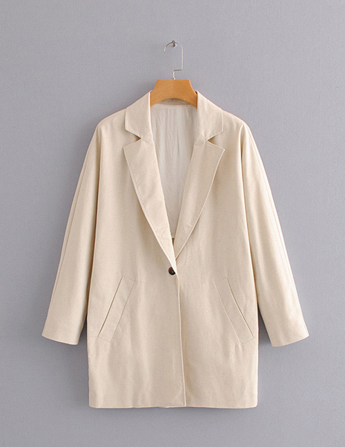 Fashion Khaki Button Decorated Pure Color Coat