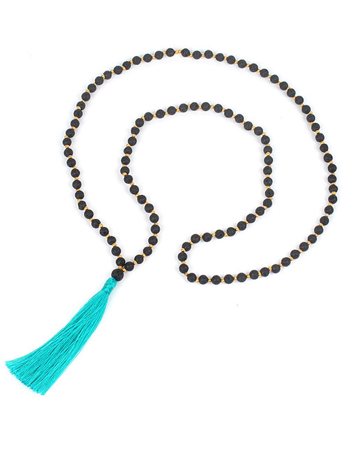 Fashion Green Tassel&bead Decorated Necklace