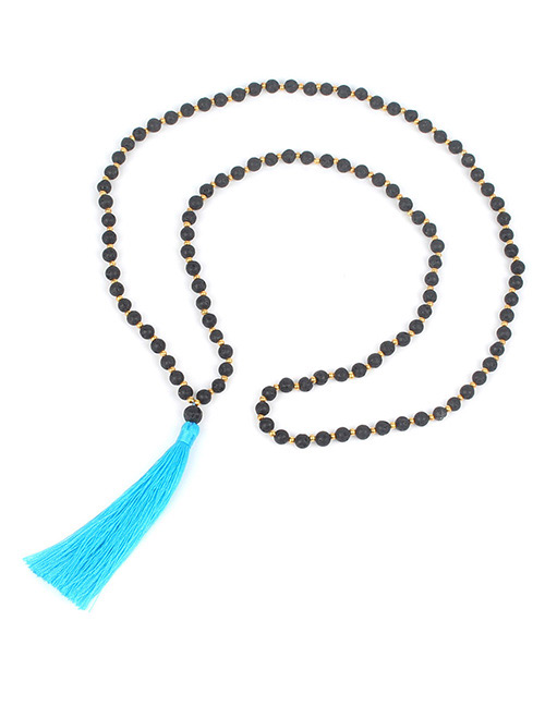 Fashion Blue Tassel&bead Decorated Necklace