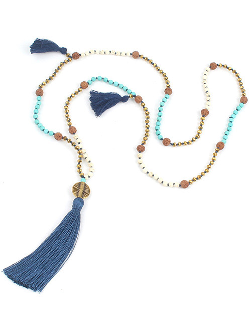 Fashion Blue Bead&tassel Decorated Necklace