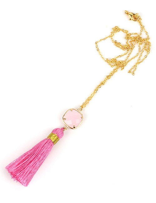 Fashion Pink Square Shape Decorated Tassel Necklace