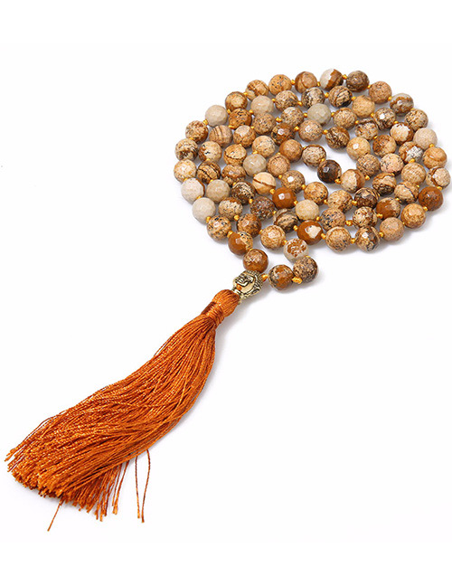 Fashion Brown Bead&tassel Decorated Necklace
