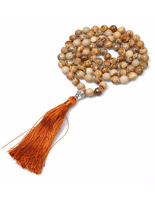 Fashion Brown+silver Color Bead&tassel Decorated Necklace