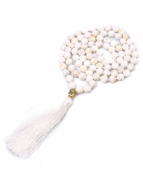 Fashion White Bead&tassel Decorated Necklace
