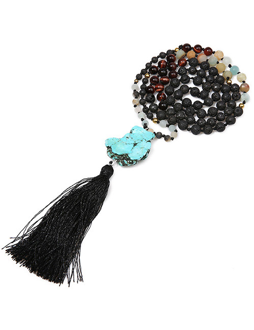 Fashion Black Bead&tassel Decorated Necklace