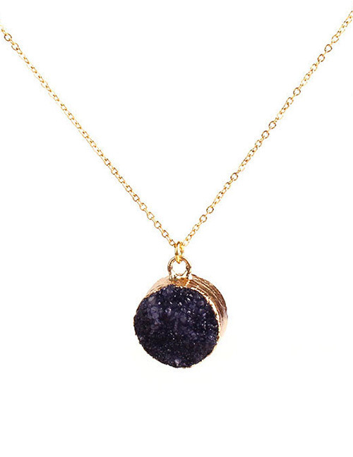 Simple Black Round Shape Decorated Necklace