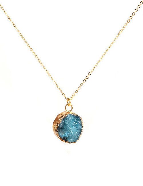 Simple Blue Round Shape Decorated Necklace
