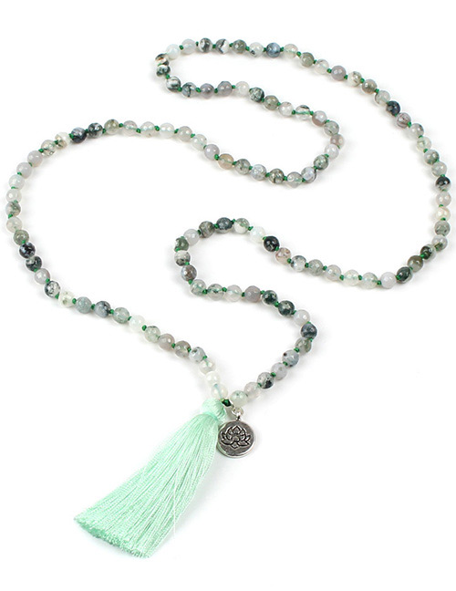Fashion Light Green Tassel Decorated Necklace