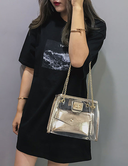Fashion Gold Color Buckle Decorated Pure Color Shoulder Bag