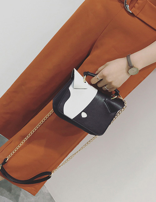 Simple Black Square Shape Decorated Shoulder Bag