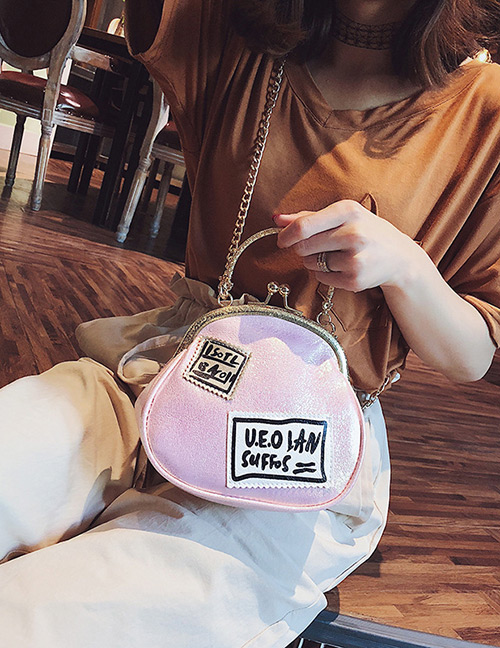 Fashion Pink Letter Pattern Decorated Shoulder Bag