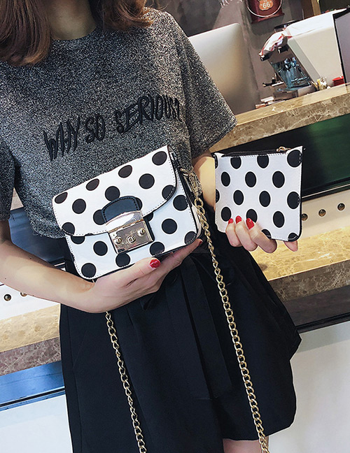 Fashion White Spot Pattern Decorated Shoulder Bag (2 Pcs )