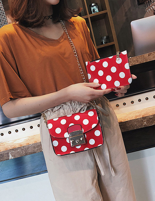 Fashion Red Spot Pattern Decorated Shoulder Bag (2 Pcs )
