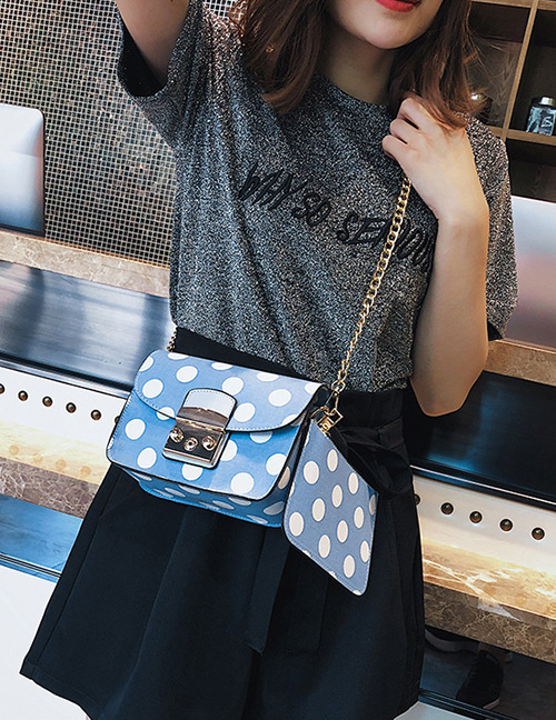 Fashion Blue Spot Pattern Decorated Shoulder Bag (2 Pcs )