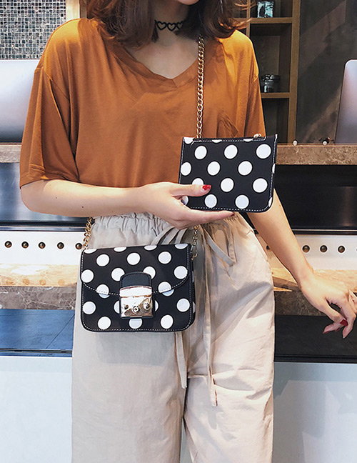 Fashion Black Spot Pattern Decorated Shoulder Bag (2 Pcs )