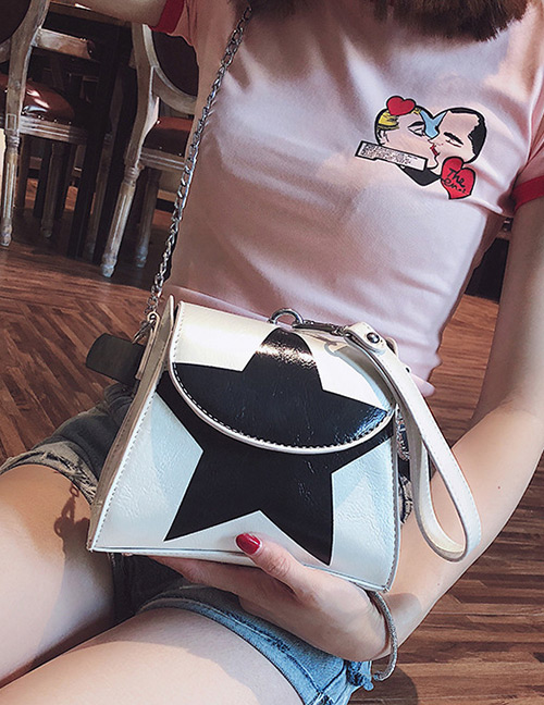Fashion White Star Pattern Decorated Shoulder Bag]
