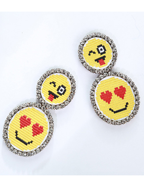 Fashion Yellow Smile Face Pattern Decorated Earrings