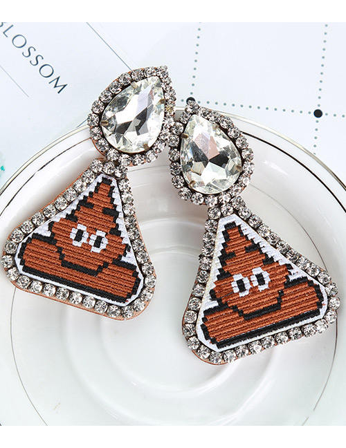 Fashion Brown Poop Pattern Decorated Earrings