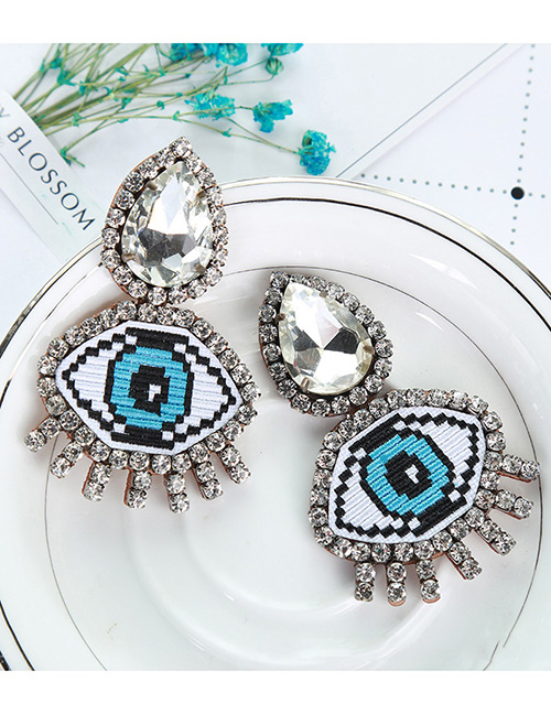 Fashion Blue Eyes Shape Decorated Earrings