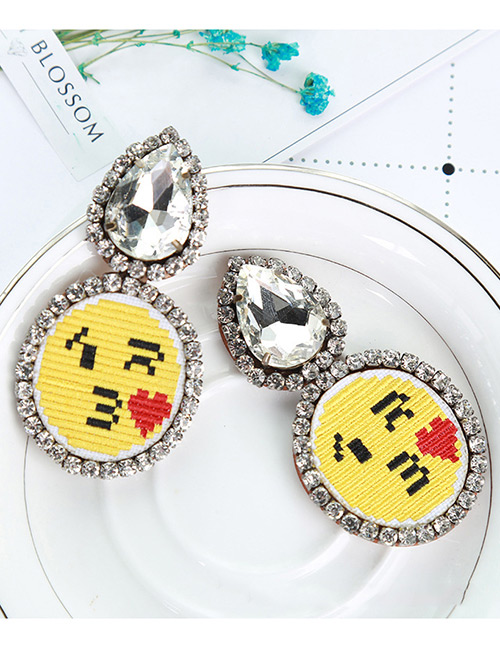 Fashion Yellow Kiss Pattern Decorated Earrings