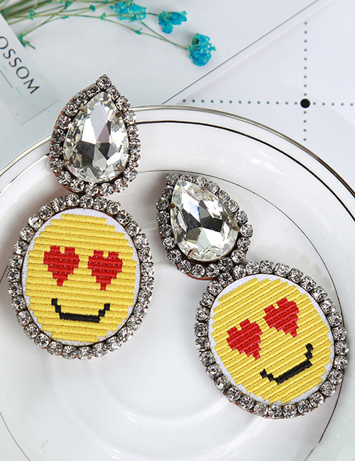Fashion Yellow+red Simle Face Pattern Decorated Earrings