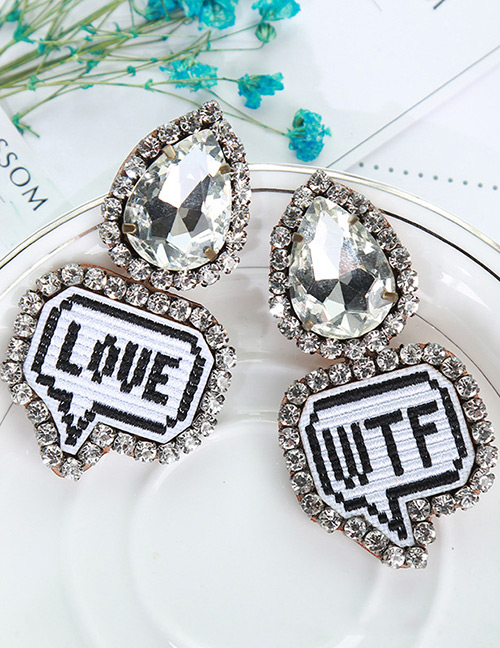 Fashion White+black Letter Pattern Decorated Earrings