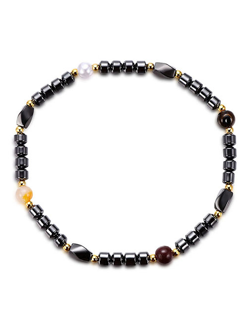 Fashion Black Bead Decorated Anklet