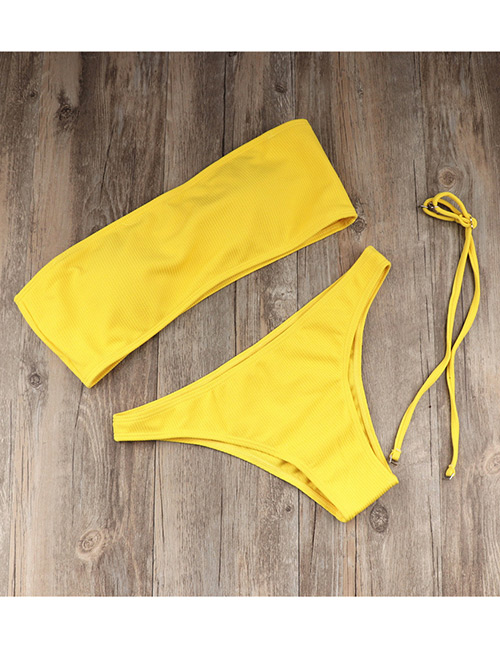 Sexy Yellow Pure Color Decorated Bikini