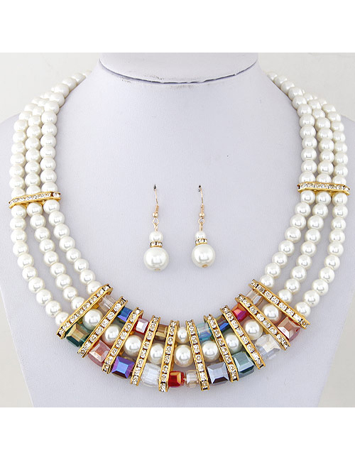 Fashion Multi-color Pearl&diamond Decorated Jewelry Set