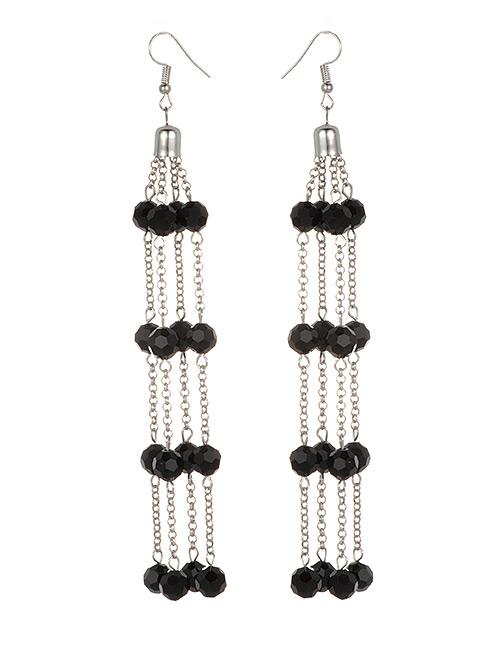 Fashion Black Tassel Decorated Earrings