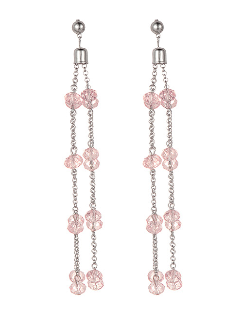 Fashion Pink Bead Decorated Pure Color Earrings