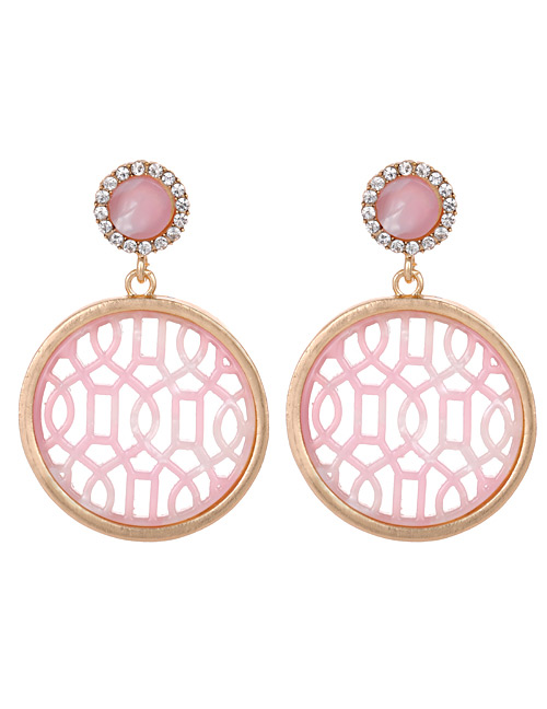 Fashion Pink Round Shape Decorated Hollow Out Earrings