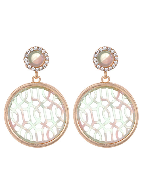 Fashion Green Round Shape Decorated Hollow Out Earrings