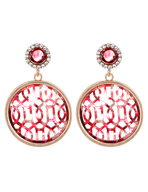 Fashion Red Round Shape Decorated Hollow Out Earrings