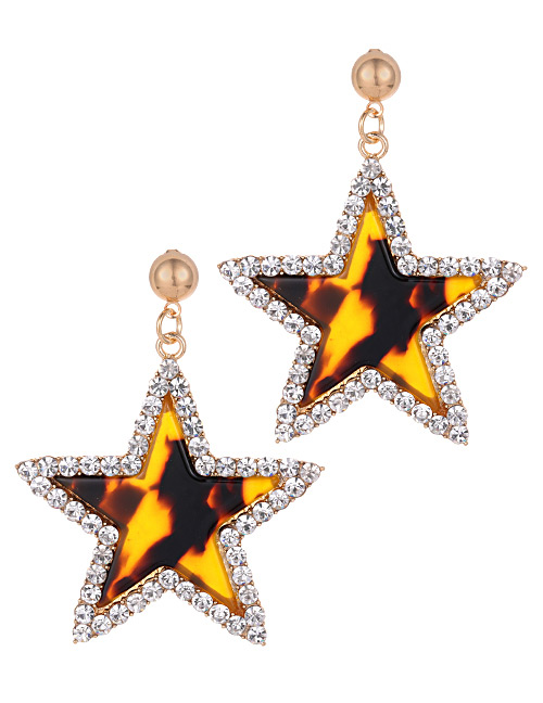 Fashion Coffee Star Shape Decorated Earrings