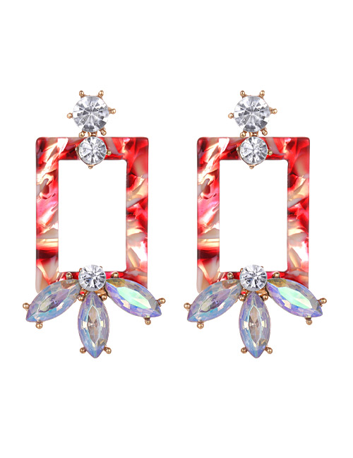 Fashion Red Square Shape Decorated Earrings