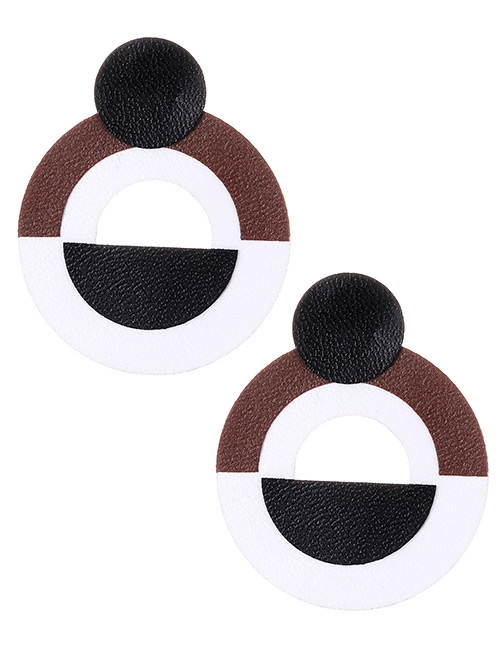 Fashion Black+white Circular Ring Shape Decorated Earrings