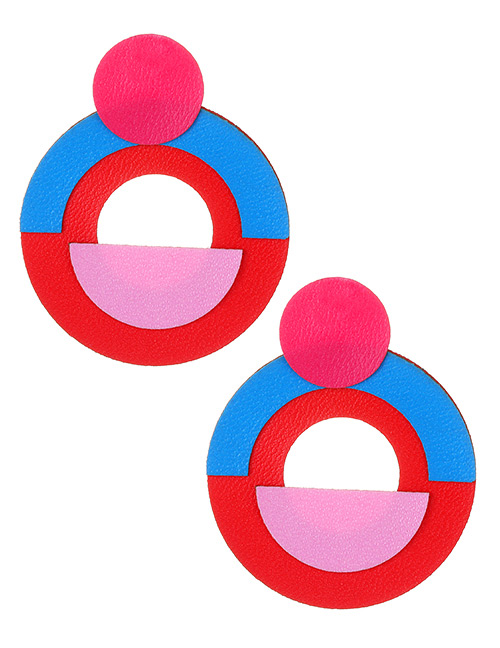 Fashion Red+blue Circular Ring Shape Decorated Earrings