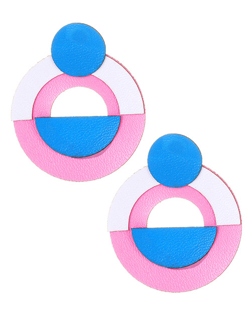 Fashion Pink+blue Circular Ring Shape Decorated Earrings