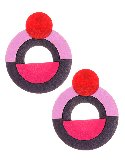 Fashion Brown+pink Circular Ring Shape Decorated Earrings