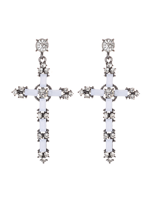 Fashion White Cross Shape Decorated Earrings