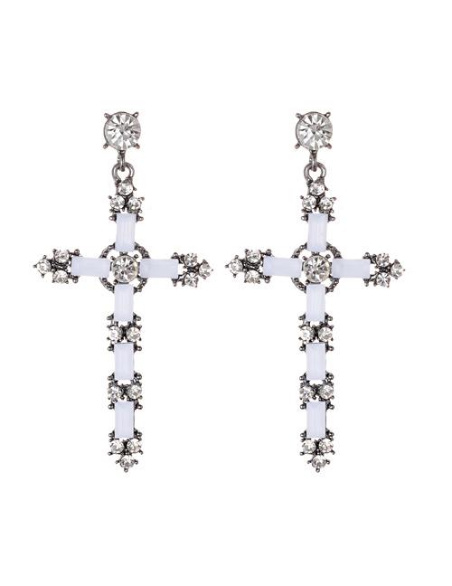 Fashion White Cross Shape Decorated Earrings