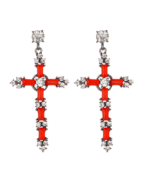 Fashion Red Cross Shape Decorated Earrings
